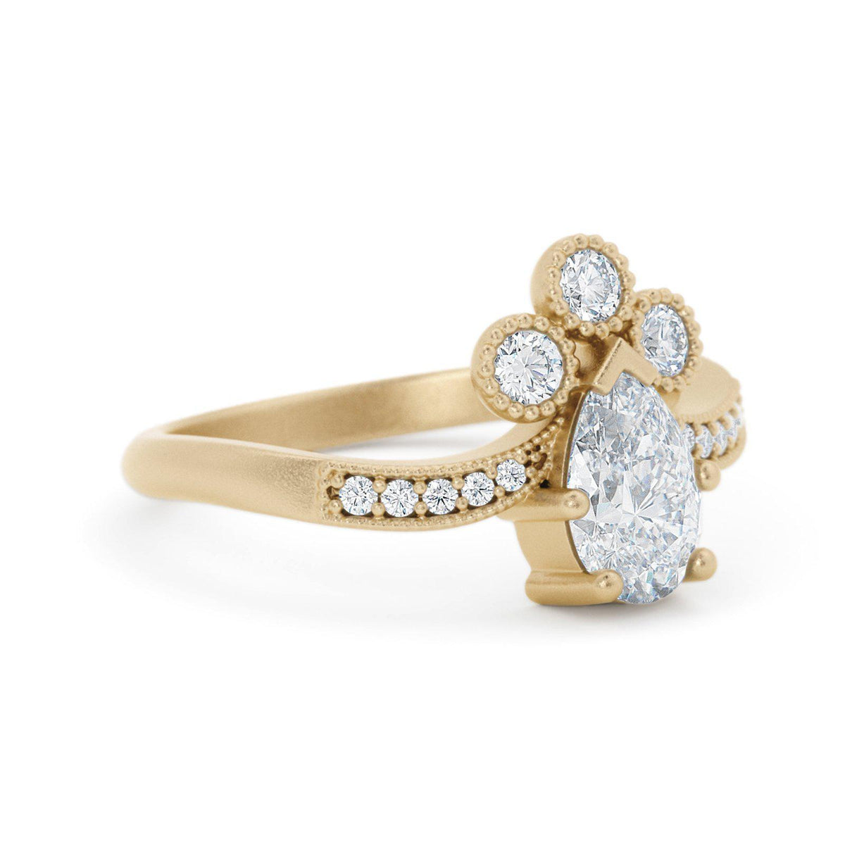 Josephine Pear Shaped Diamond Engagement Ring Vintage Inspired
