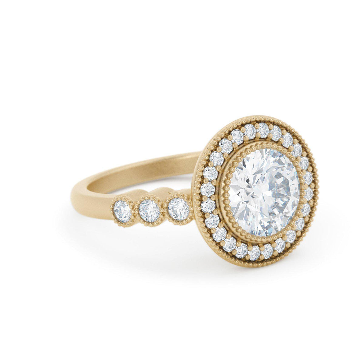Juliet Diamond Halo Engagement Ring Vintage Inspired