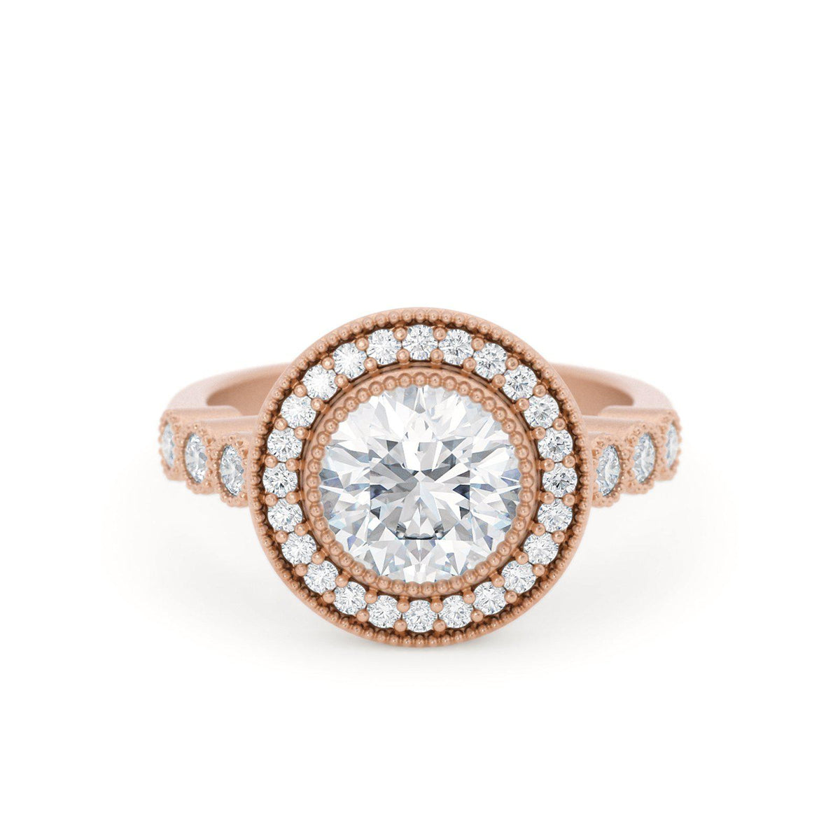 Juliet Diamond Halo Engagement Ring Rose Gold