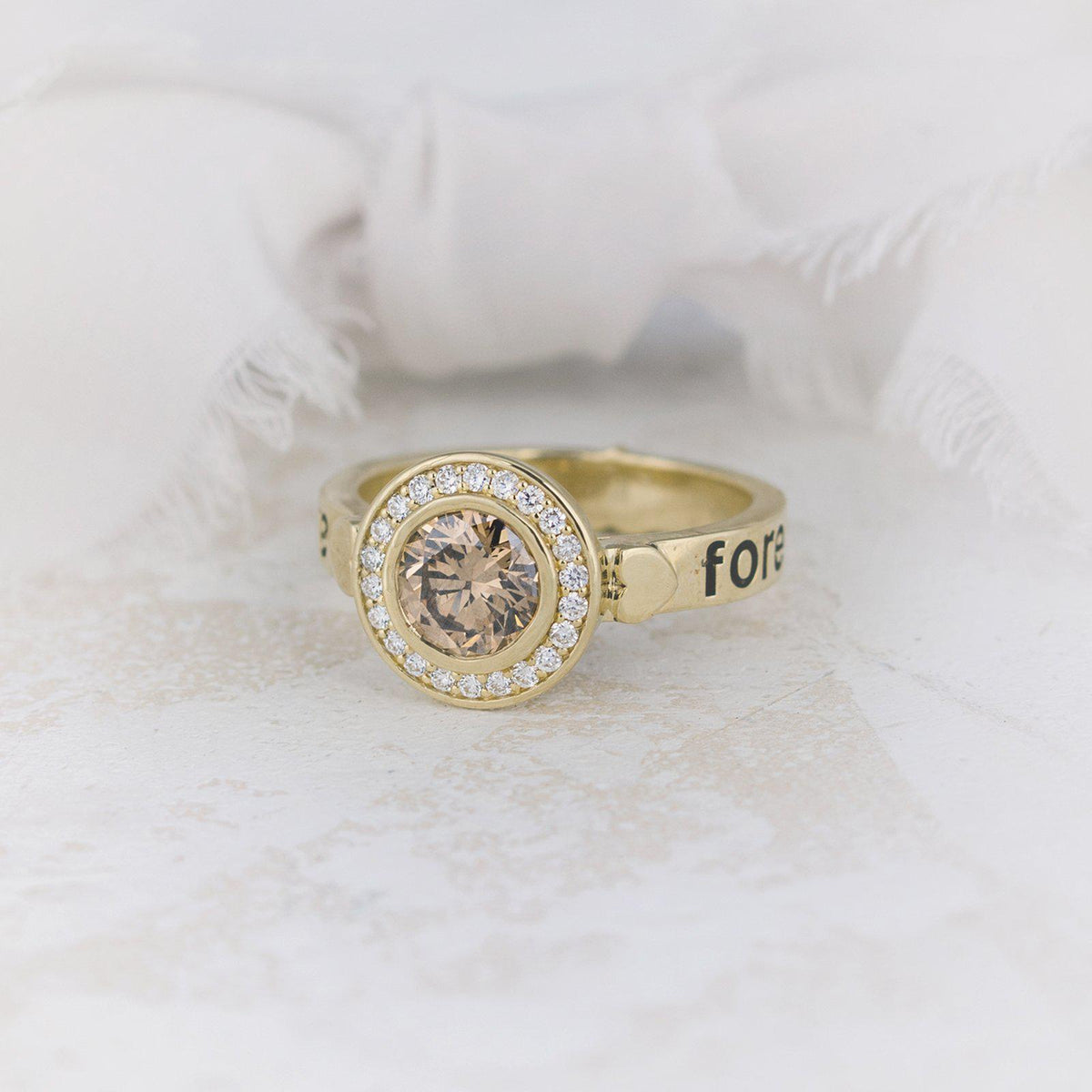 Juliet Diamond Halo Engagement Ring Champagne Diamond