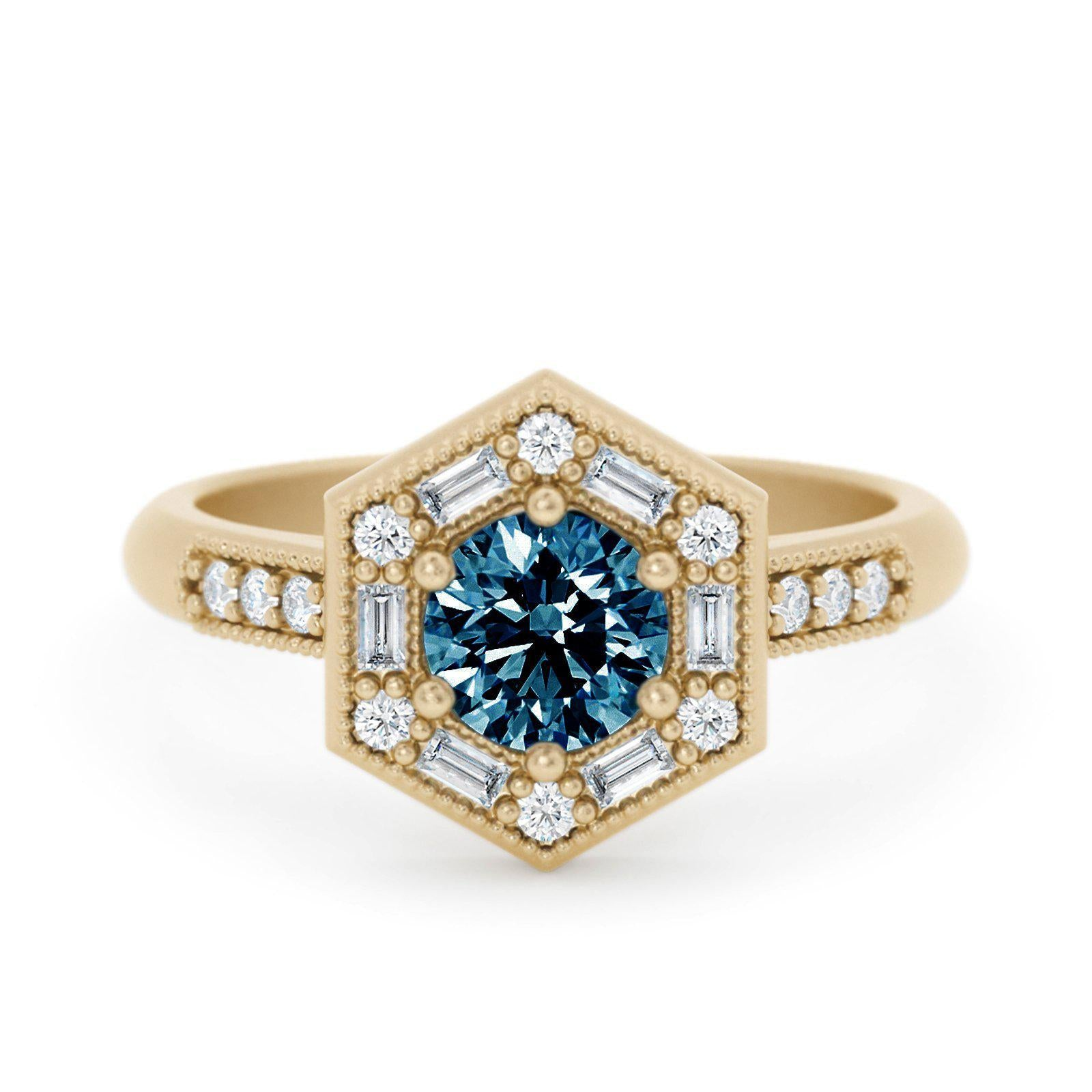 Lorelei Art Deco Montana Sapphire Ring with Baguettes