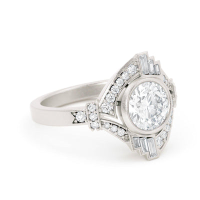 Mabel Louise Art Deco Diamond Ring with baguette diamonds
