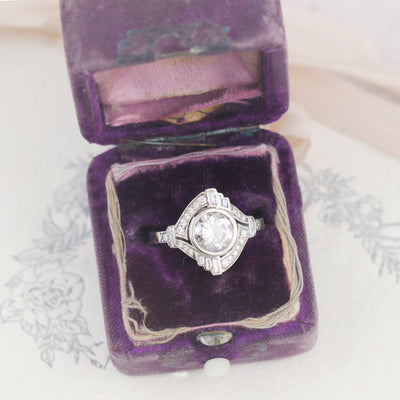 Mabel Louise Art Deco Diamond Halo Ring vintage inspired