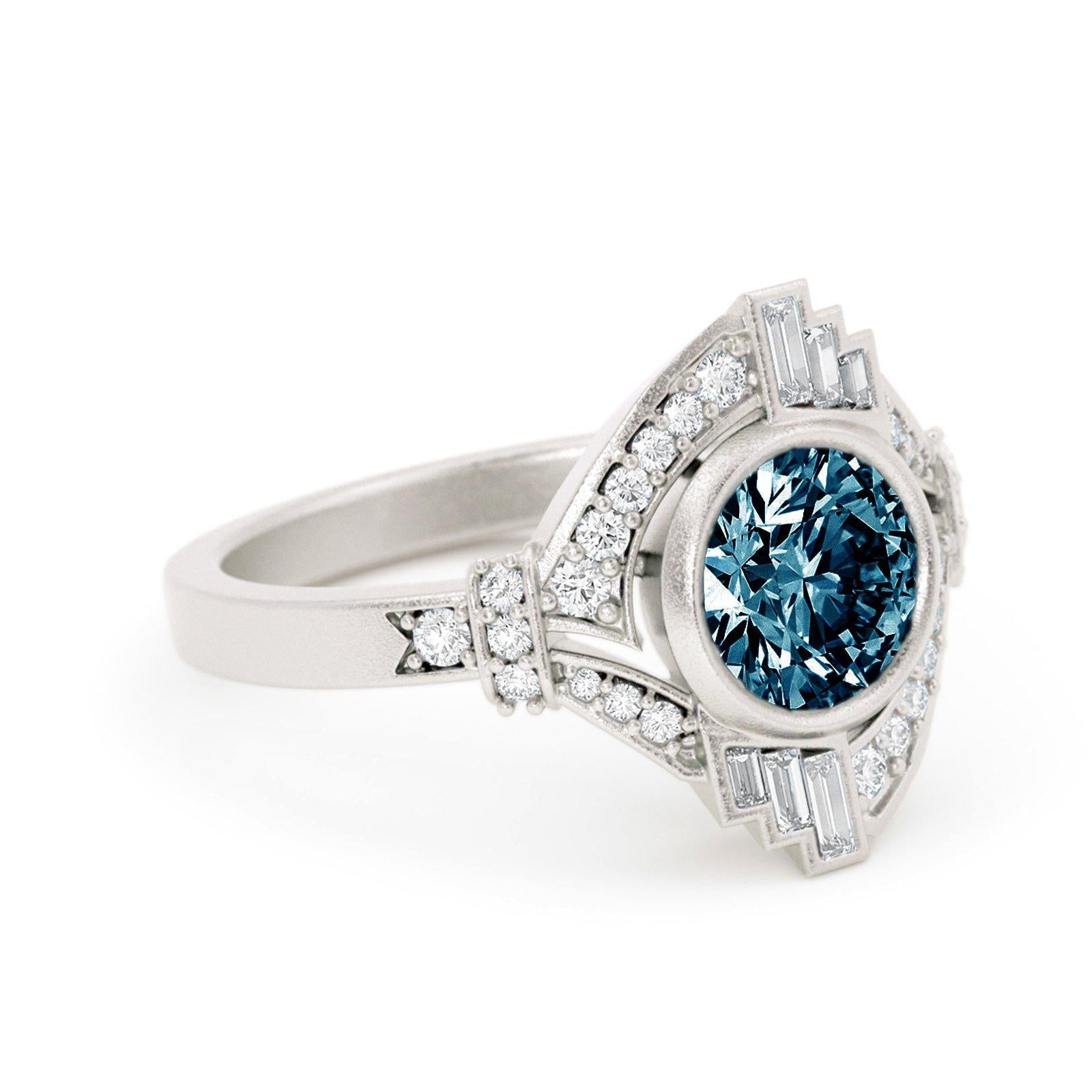 Mabel Louise Art Deco Montana Sapphire Ring White Gold