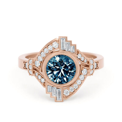 Mabel Louise Art Deco Montana Sapphire Ring Rose Gold