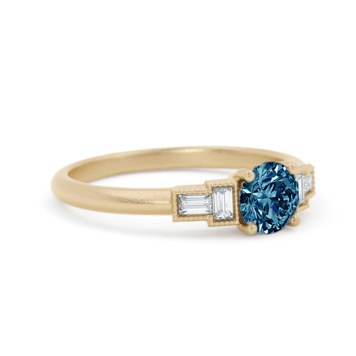 Marlow Montana Sapphire Ring with Baguette Diamonds Yellow Gold