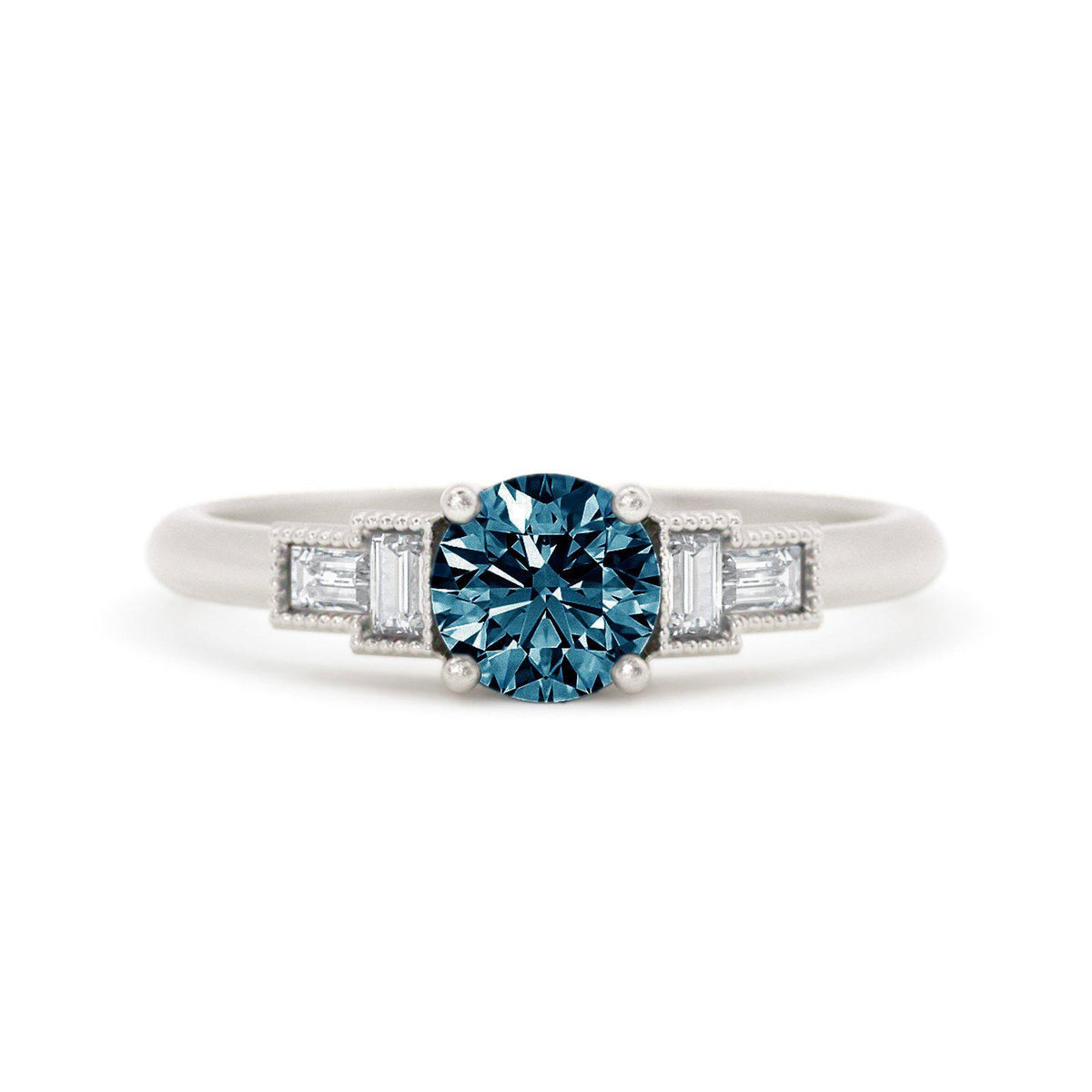 Marlow Montana Sapphire Ring with Baguette Diamonds White Gold
