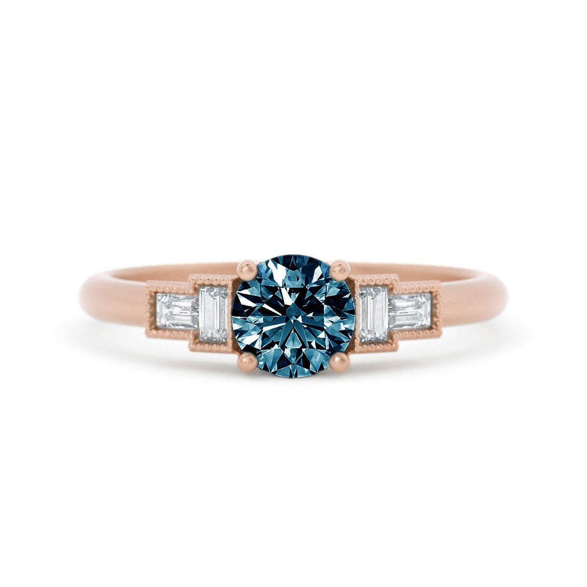 Marlow Montana Sapphire Ring with Baguette Diamonds Rose Gold