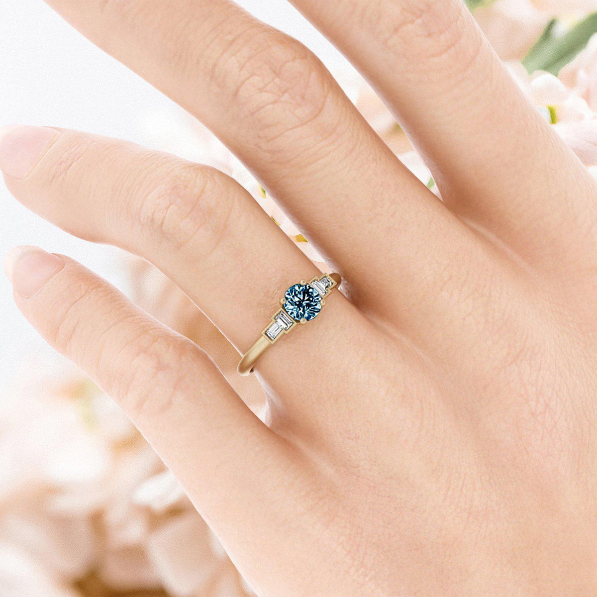 Marlow Montana Sapphire Ring with Baguette Diamonds