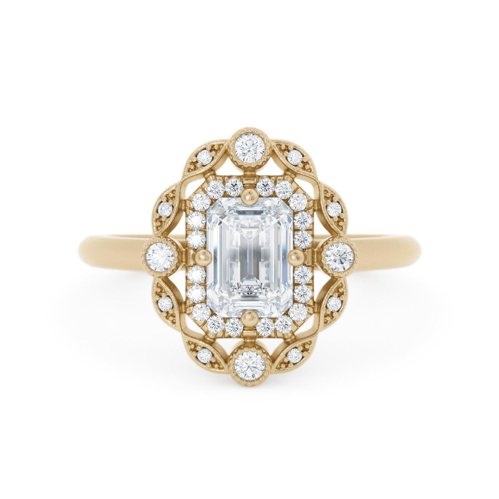 Mavis Double Halo Diamond Ring Emerald Cut