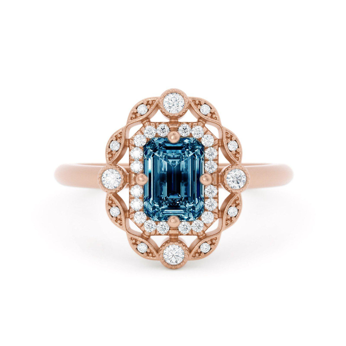 Mavis Montana Sapphire Ring with Double Halo Rose Gold