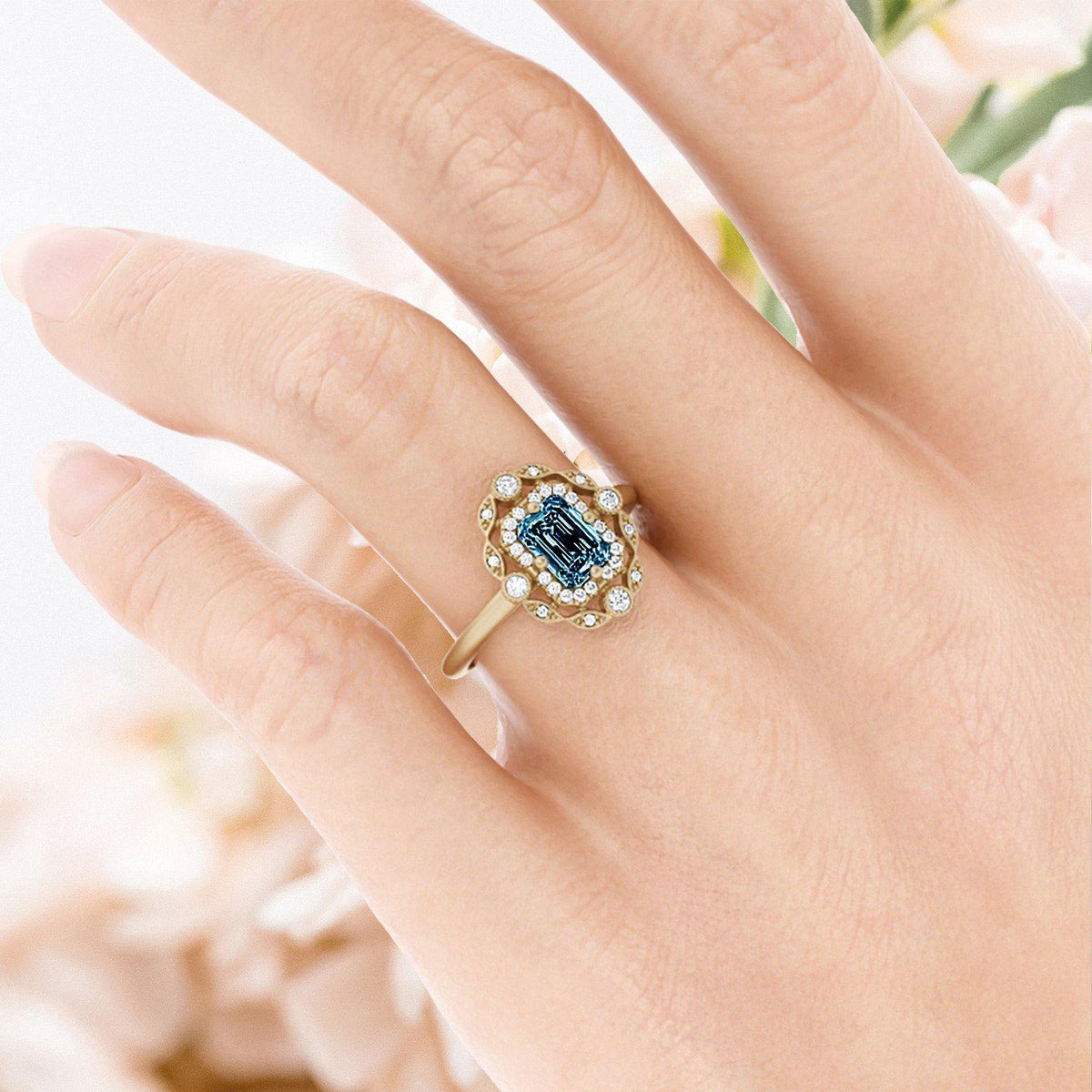 Mavis Montana Sapphire Ring with Double Halo On Womans Hand