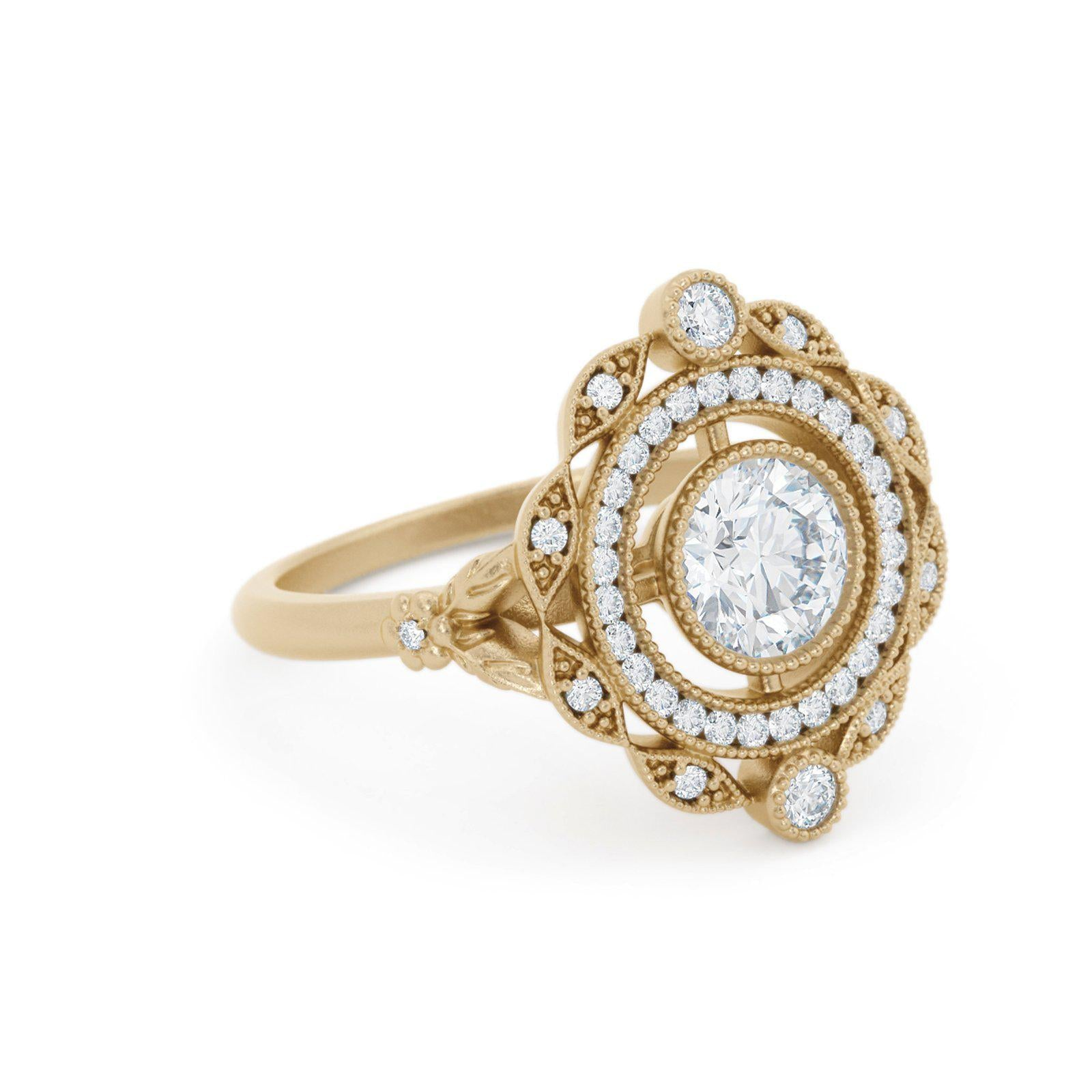 Millicent Diamond Double Halo Ring Yellow Gold