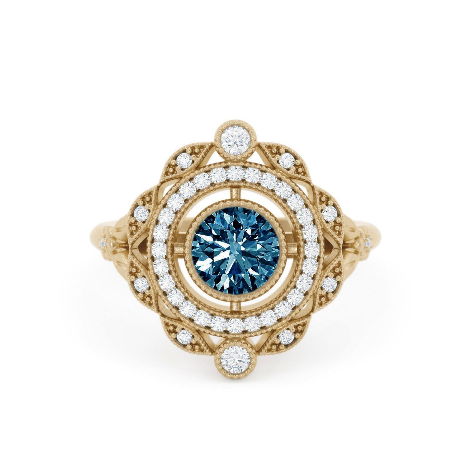 Millicent Montana Sapphire Ring with Double Halo