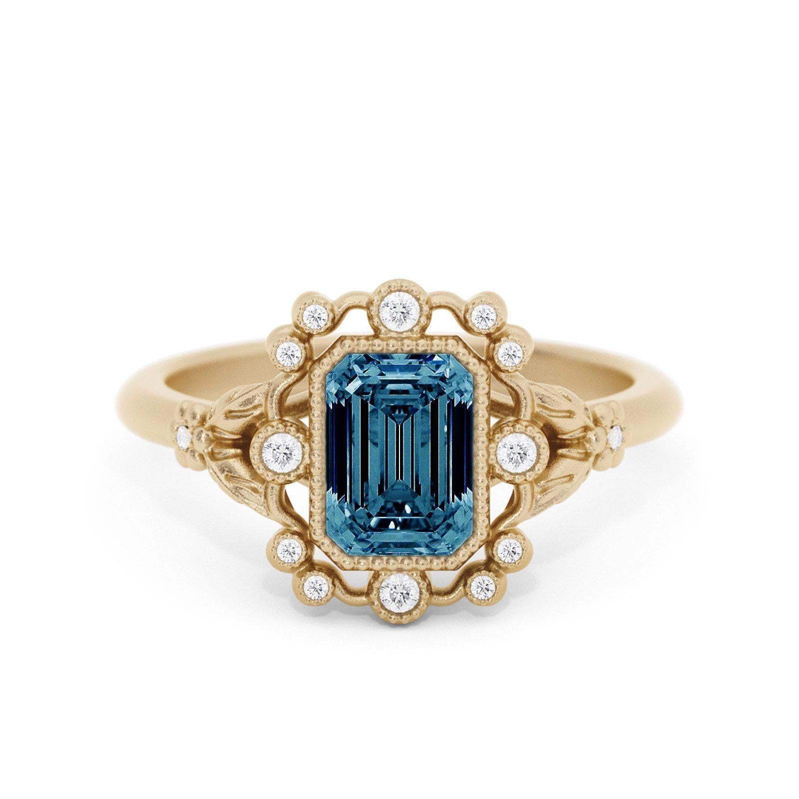 Mirabelle Emerald Cut Montana Sapphire Ring with leaves