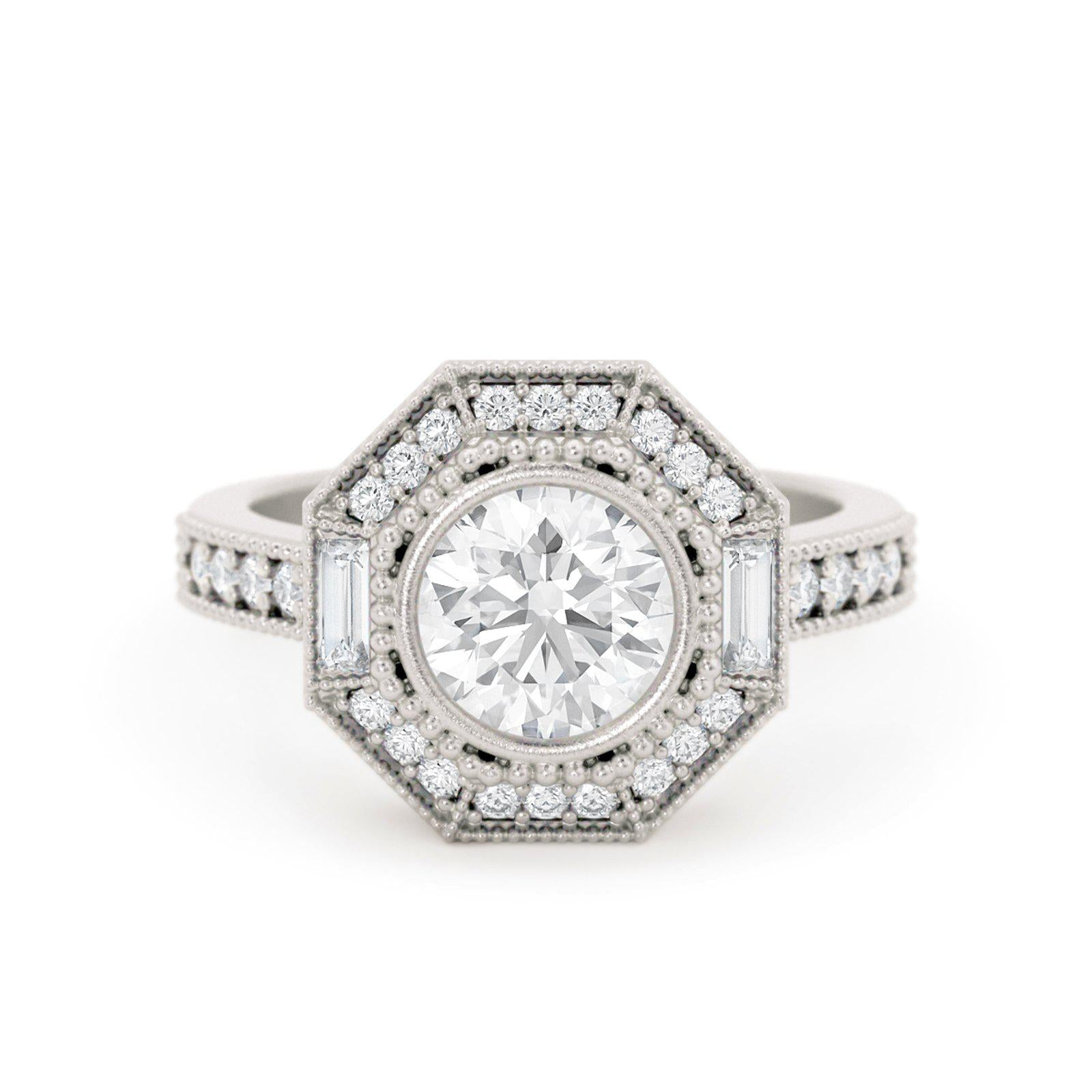 Monroe Art Deco Diamond Ring White Gold
