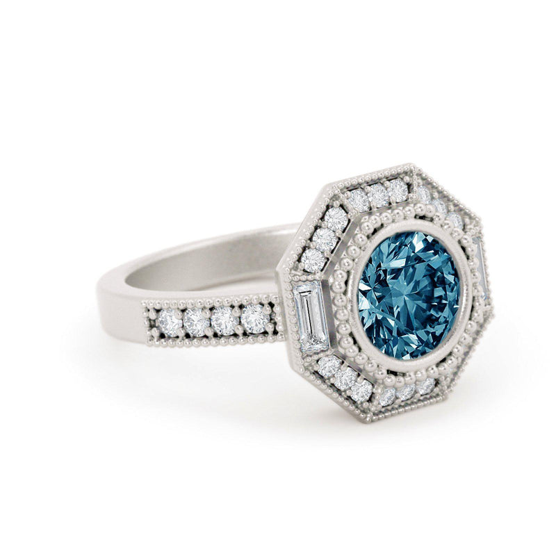 Monroe Montana Sapphire Ring with Baguette Diamonds White Gold