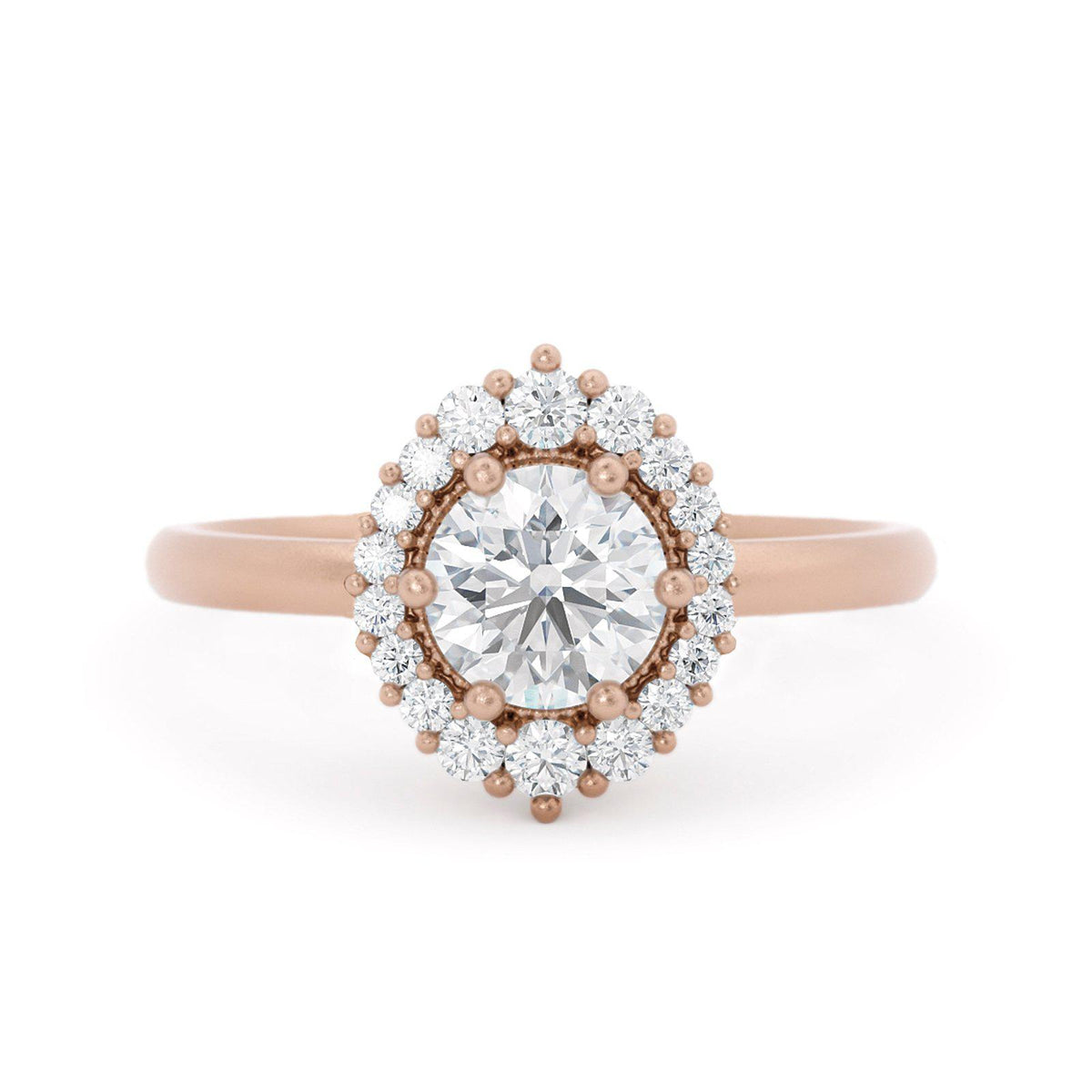 Orla Diamond Halo Engagement Ring Rose Gold