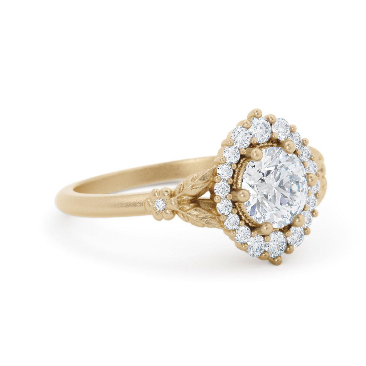 Orla Diamond Halo Engagement Ring with Flowers
