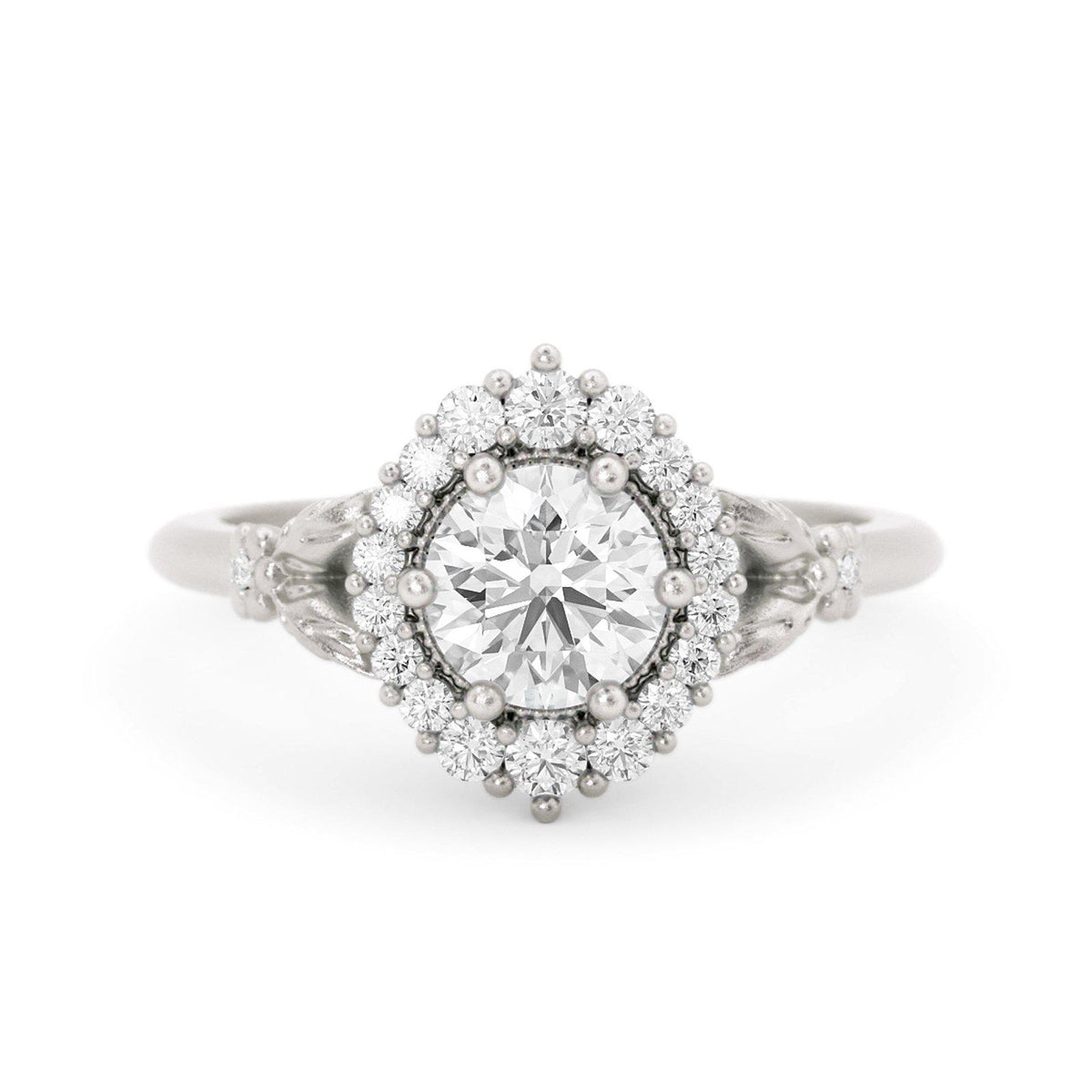 Orla Diamond Halo Engagement Ring White Gold Flowers