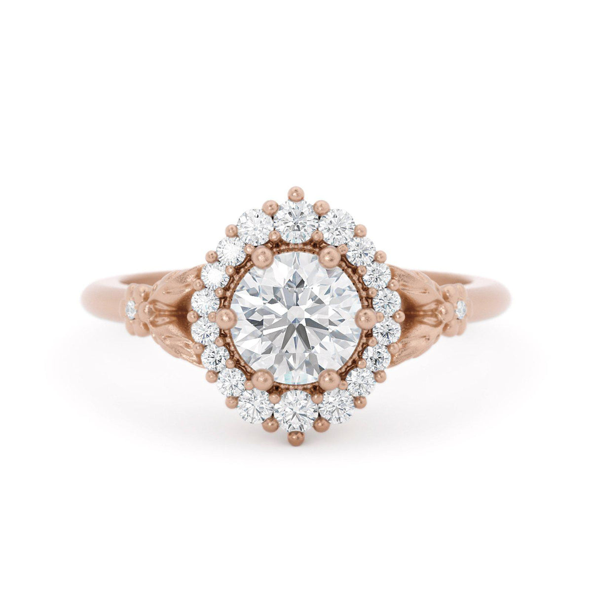 Orla Diamond Halo Engagement Ring Rose Gold Floral