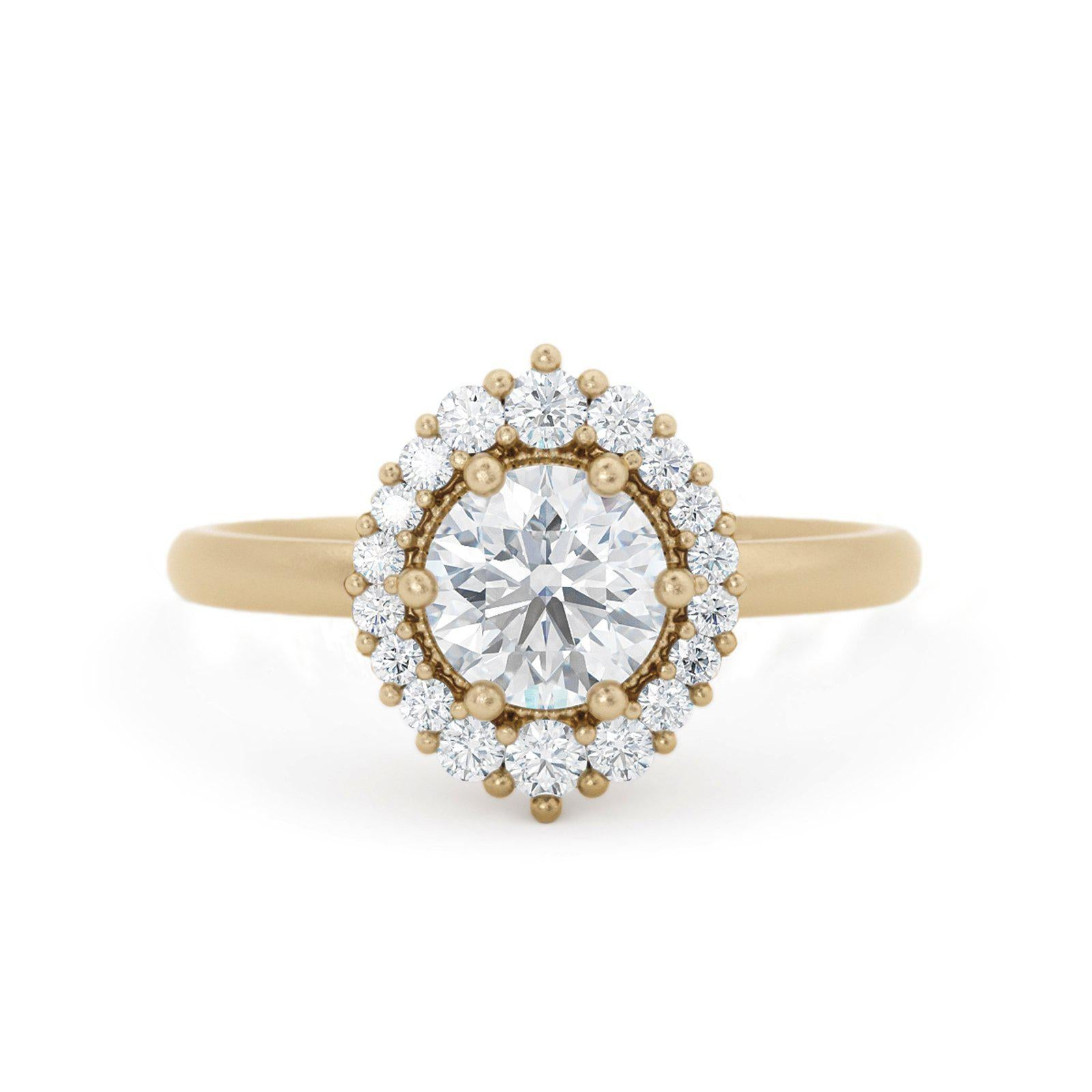 Orla Diamond Halo Engagement Ring Yellow Gold