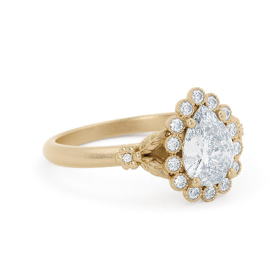 Penelope Pear Shaped Halo Engagement Ring Vintage Inspired