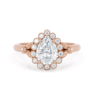 Penelope Pear Shaped Halo Engagement Ring Rose Gold