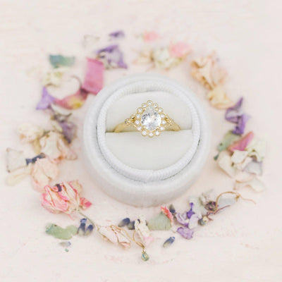 Penelope Pear Shaped Halo Engagement Ring with leaves