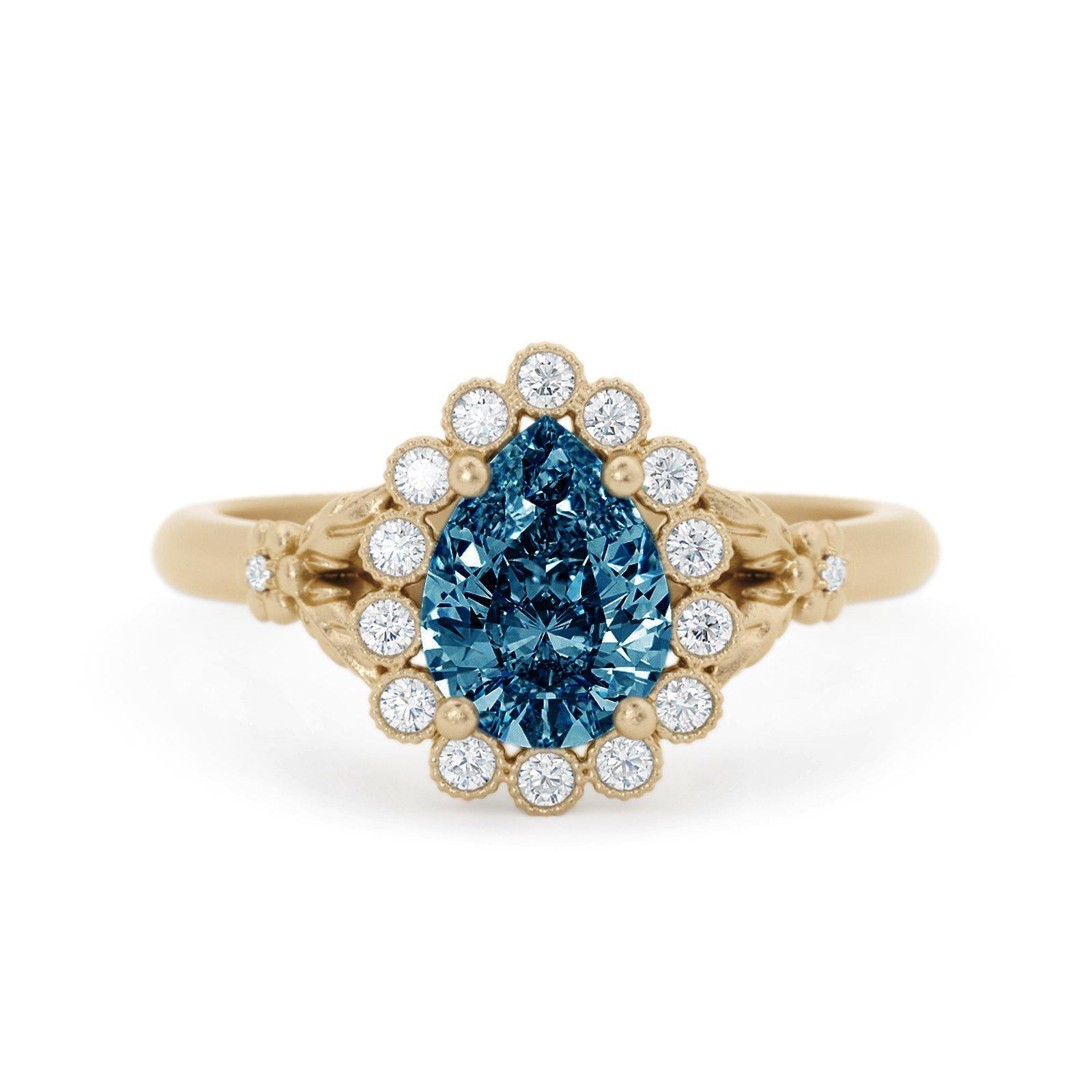 Penelope Pear Shaped Montana Sapphire Ring Halo