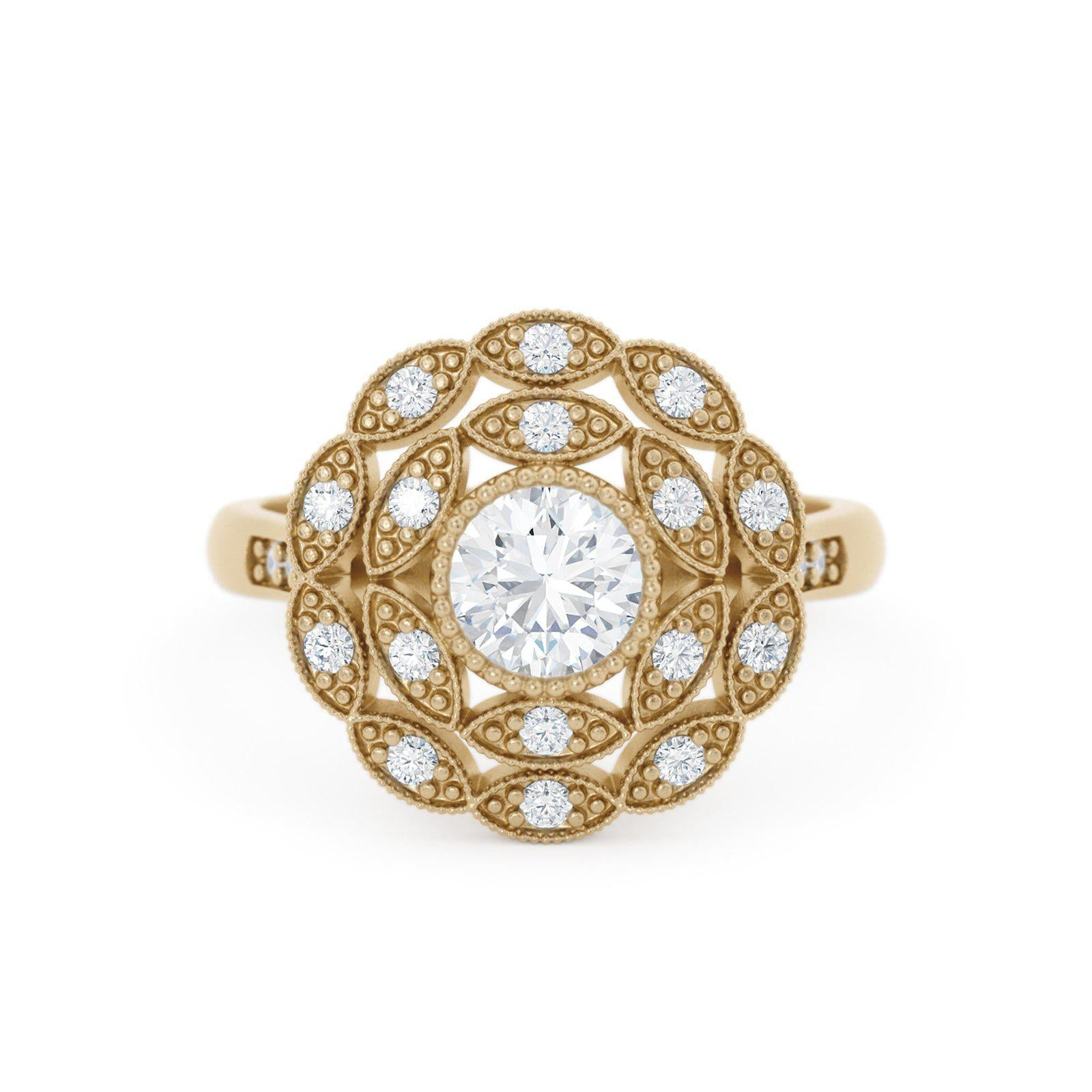 Rosabella Diamond Double Halo Ring Floral Inspired