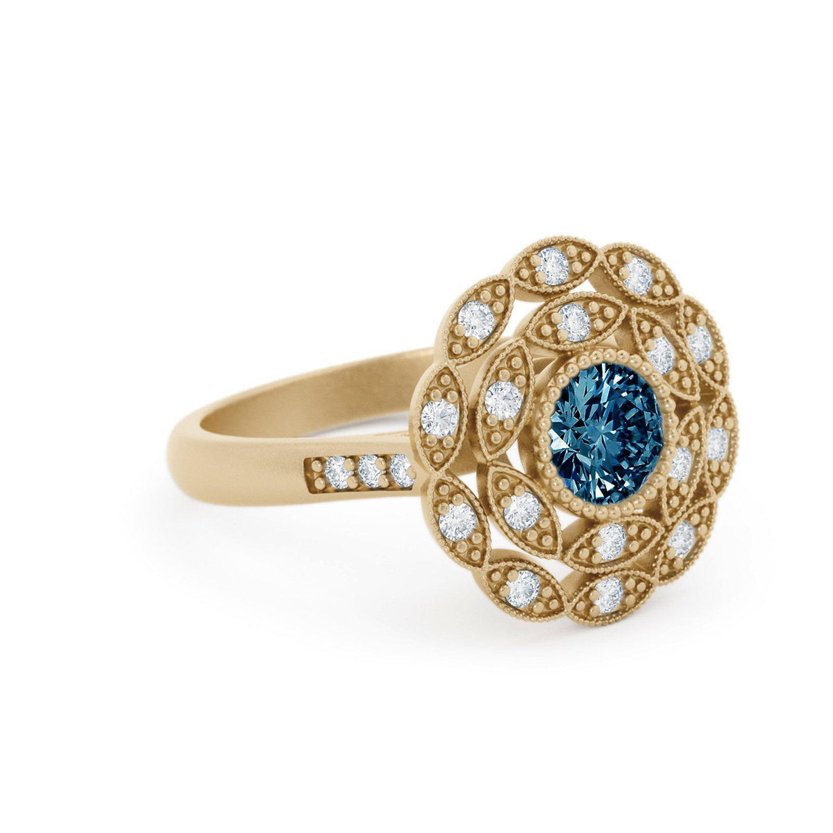 Rosabella Montana Sapphire Ring with Double Halo Yellow Gold