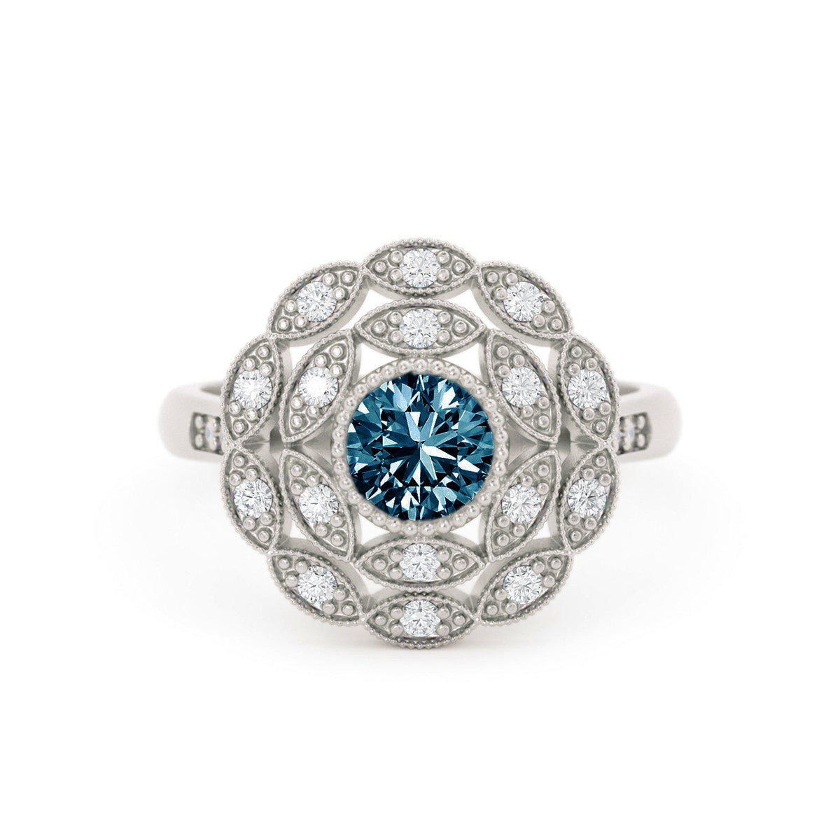Rosabella Montana Sapphire Ring with Double Halo White Gold