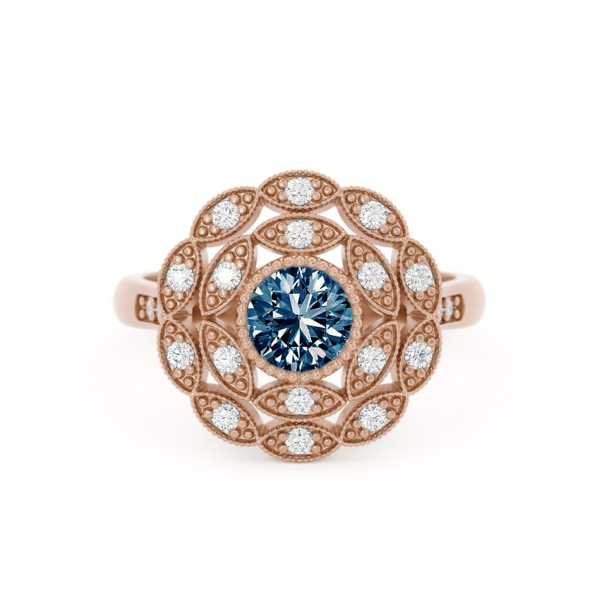 Rosabella Montana Sapphire Ring with Double Halo Rose Gold