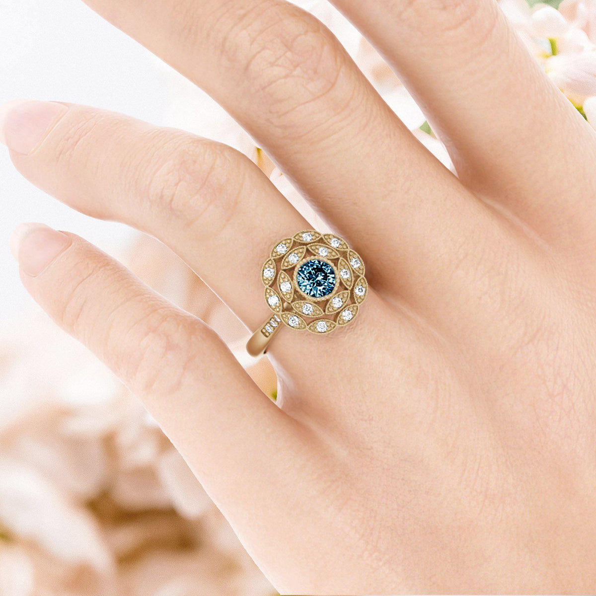 Rosabella Montana Sapphire Ring with Double Halo on womans hand