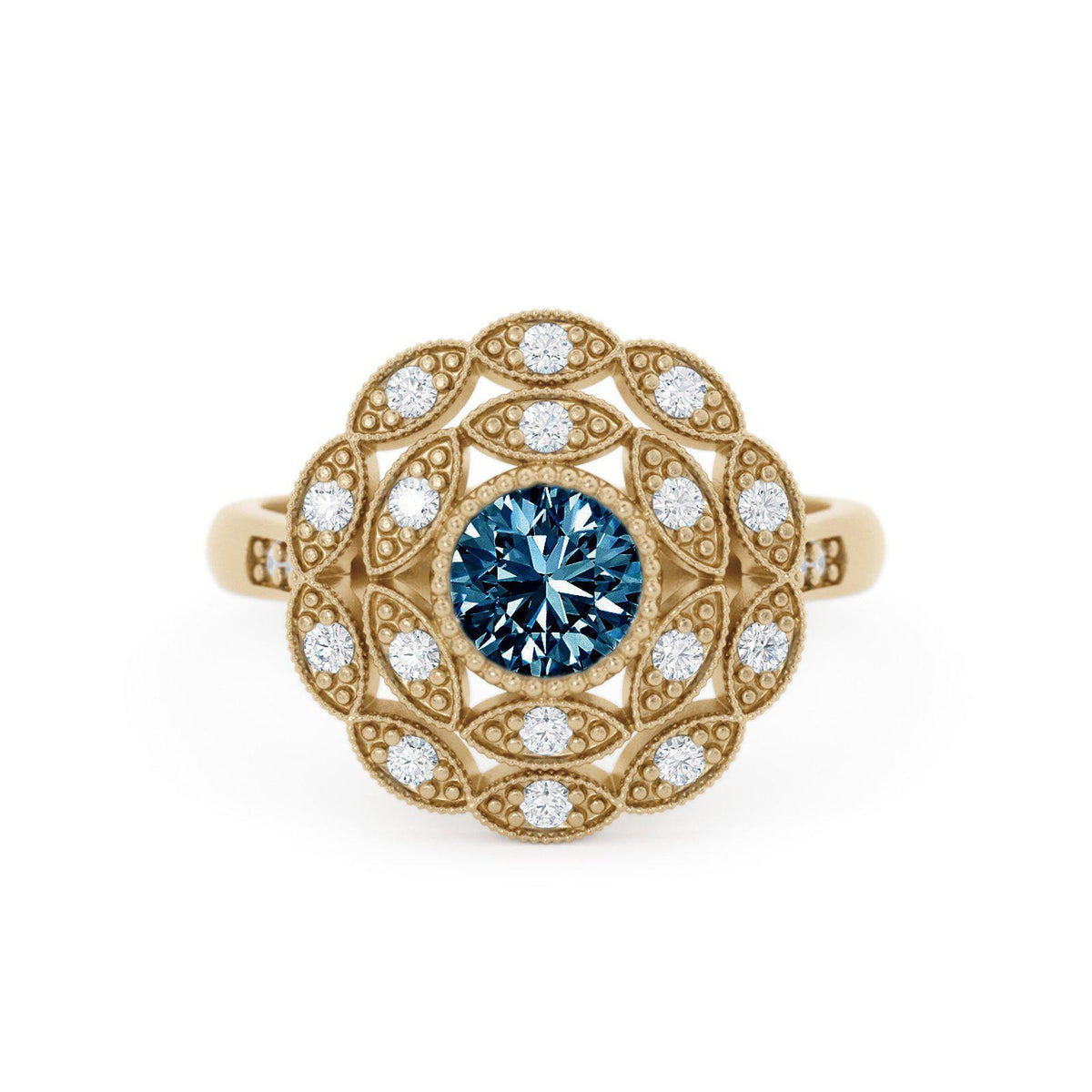 Rosabella Montana Sapphire Ring with Double Halo Floral Inspired