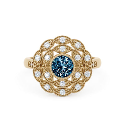 Rosabella Montana Sapphire Ring with Double Halo with leaves