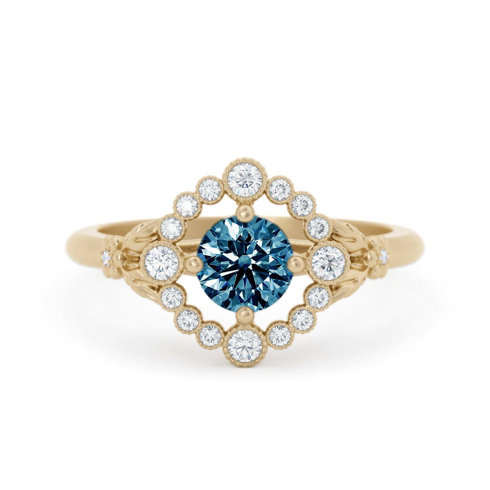 Scarlett Montana Sapphire Ring with Diamond Halo