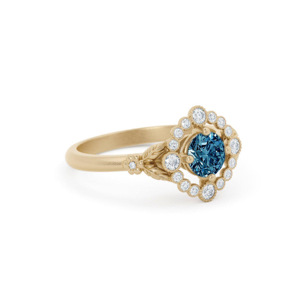 Scarlett Montana Sapphire Ring with Diamond Halo Yellow Gold