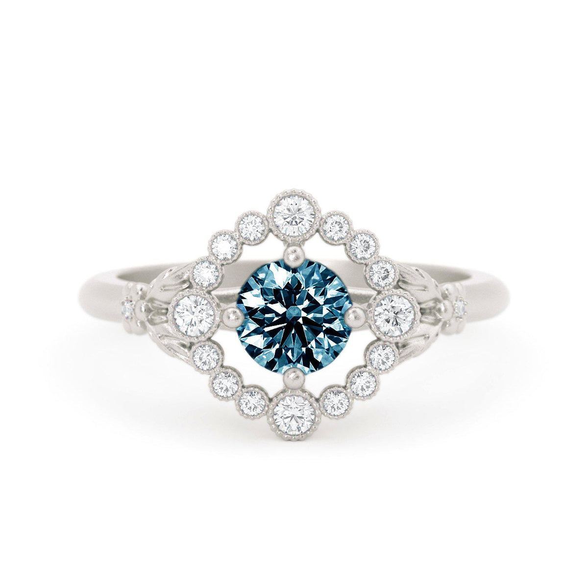 Scarlett Montana Sapphire Ring with Diamond Halo White Gold