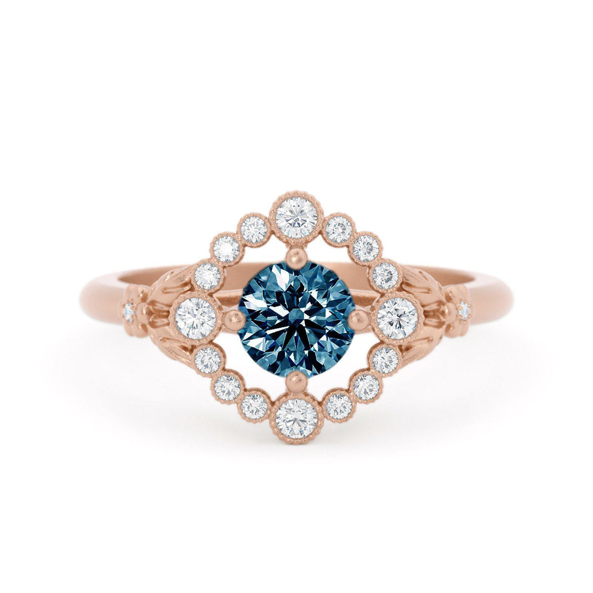 Scarlett Montana Sapphire Ring with Diamond Halo Rose Gold