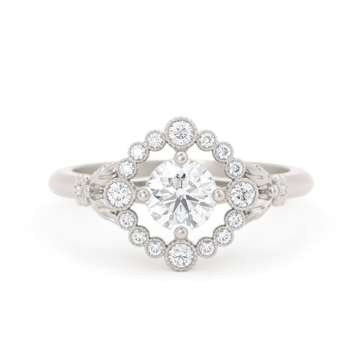 Scarlett Vintage Inspired Engagement Ring White Gold