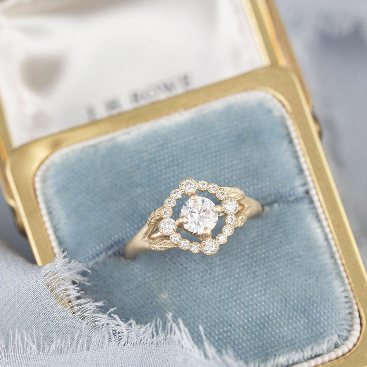 Scarlett Vintage Inspired Engagement Ring with leaves