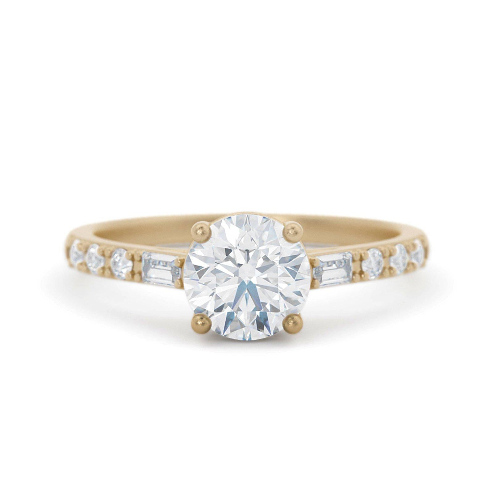 Victoriana Diamond Delicate Engagement Ring Yellow Gold