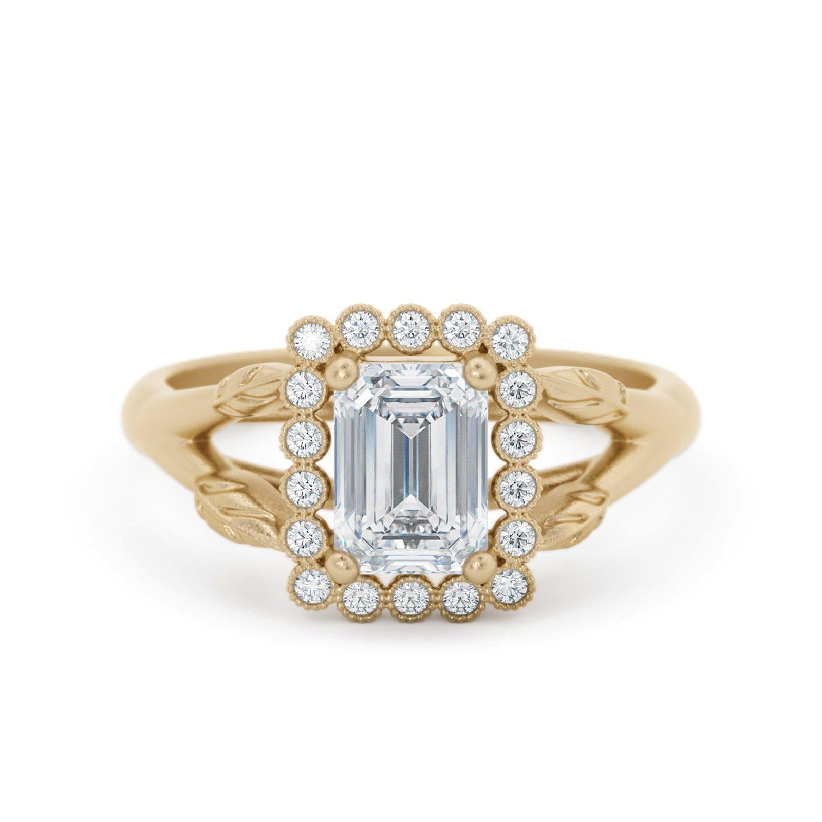 Vivienne Emerald Cut Halo Engagement Ring Yellow Gold