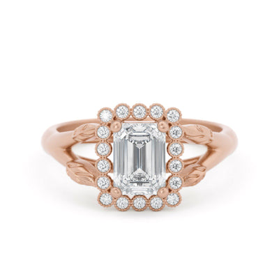 Vivienne Emerald Cut Halo Engagement Ring Rose Gold