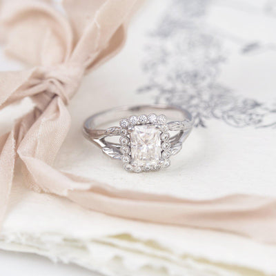 Vivienne Emerald Cut Halo Engagement Ring Nature Inspired
