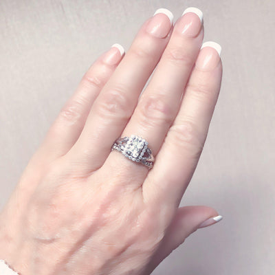 Vivienne Emerald Cut Halo Engagement Ring