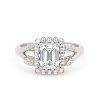 Vivienne Emerald Cut Halo Engagement Ring White Gold
