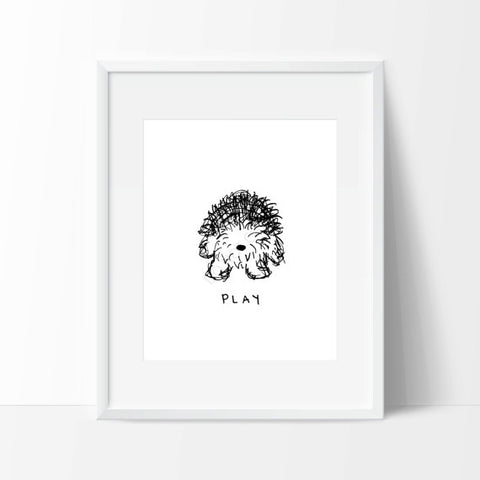 OLD ENGLISH SHEEPDOG SCRIBBLE PRINT